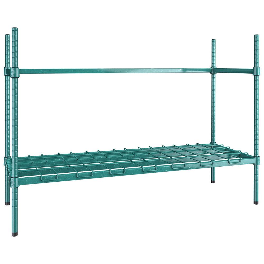 Regency 3 Keg Green Epoxy Keg Rack - 18 inch x 48 inch x 34 inch