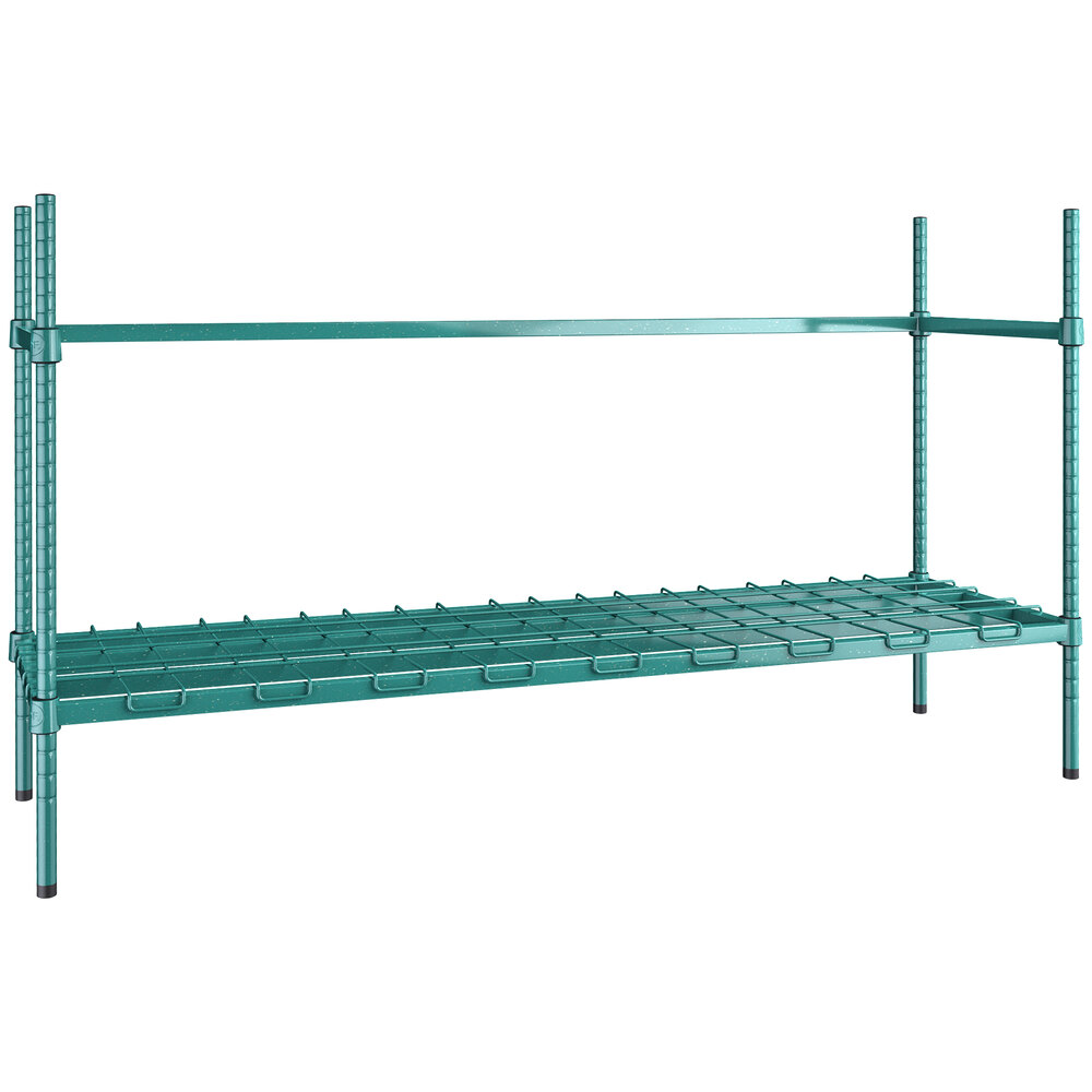 Regency 3 Keg Green Epoxy Keg Rack - 18 inch x 60 inch x 34 inch