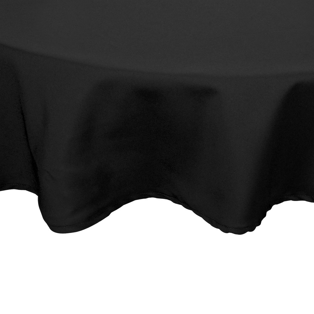 "90"" Round Black 100% Polyester Hemmed Cloth Table Cover"