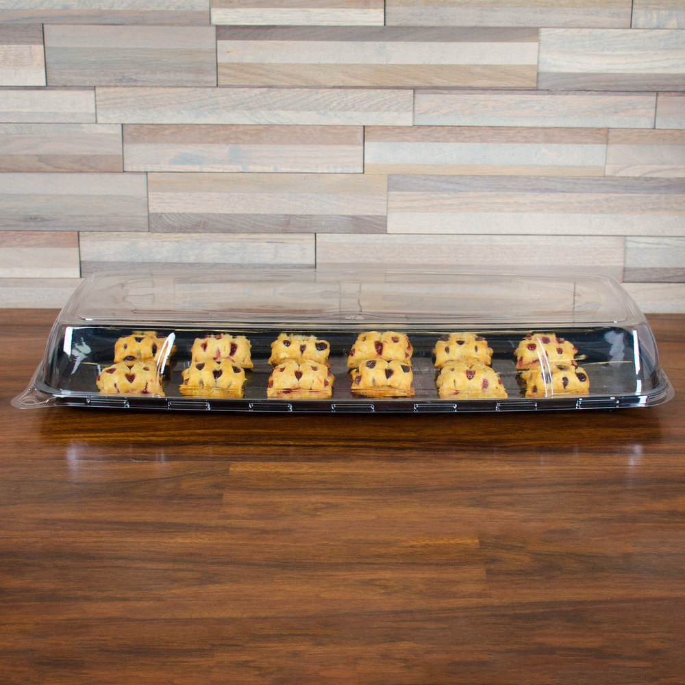 "Sabert 5622 Mozaik 22 1/4"" x 9 1/4"" Clear Plastic Platter / Catering Tray High Dome Lid - 5/Pack"