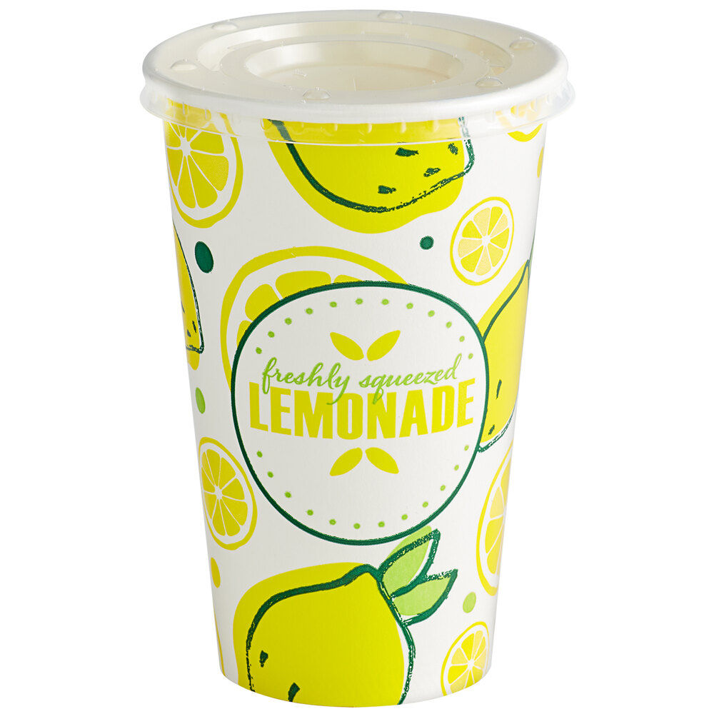 Carnival King 16 oz. Poly Paper Lemonade Cup and Flat Straw Slot Lid - 100/Pack