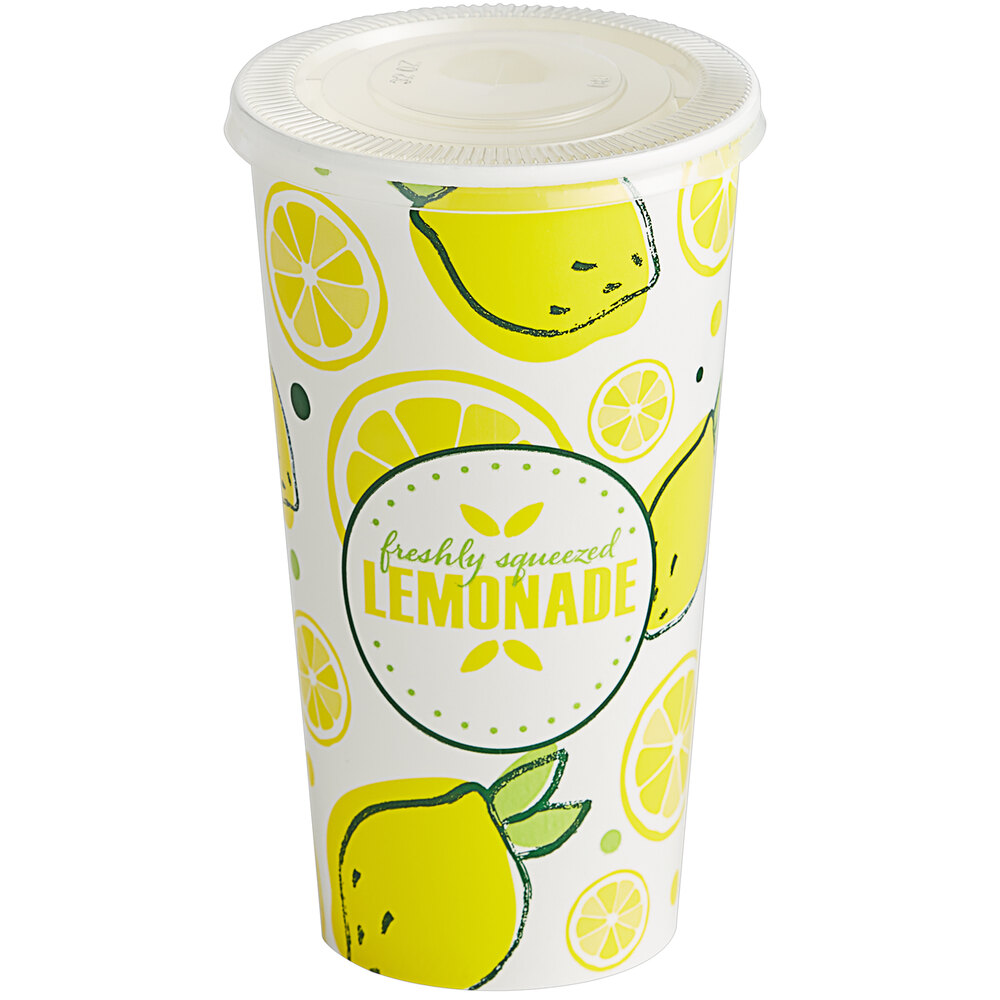 Carnival King 32 oz. Poly Paper Lemonade Cup and Flat Straw Slot Lid - 100/Pack