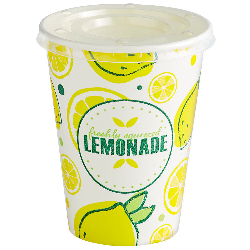 Carnival King 12 oz. Poly Paper Lemonade Cup and Flat Straw Slot Lid - 100/Pack
