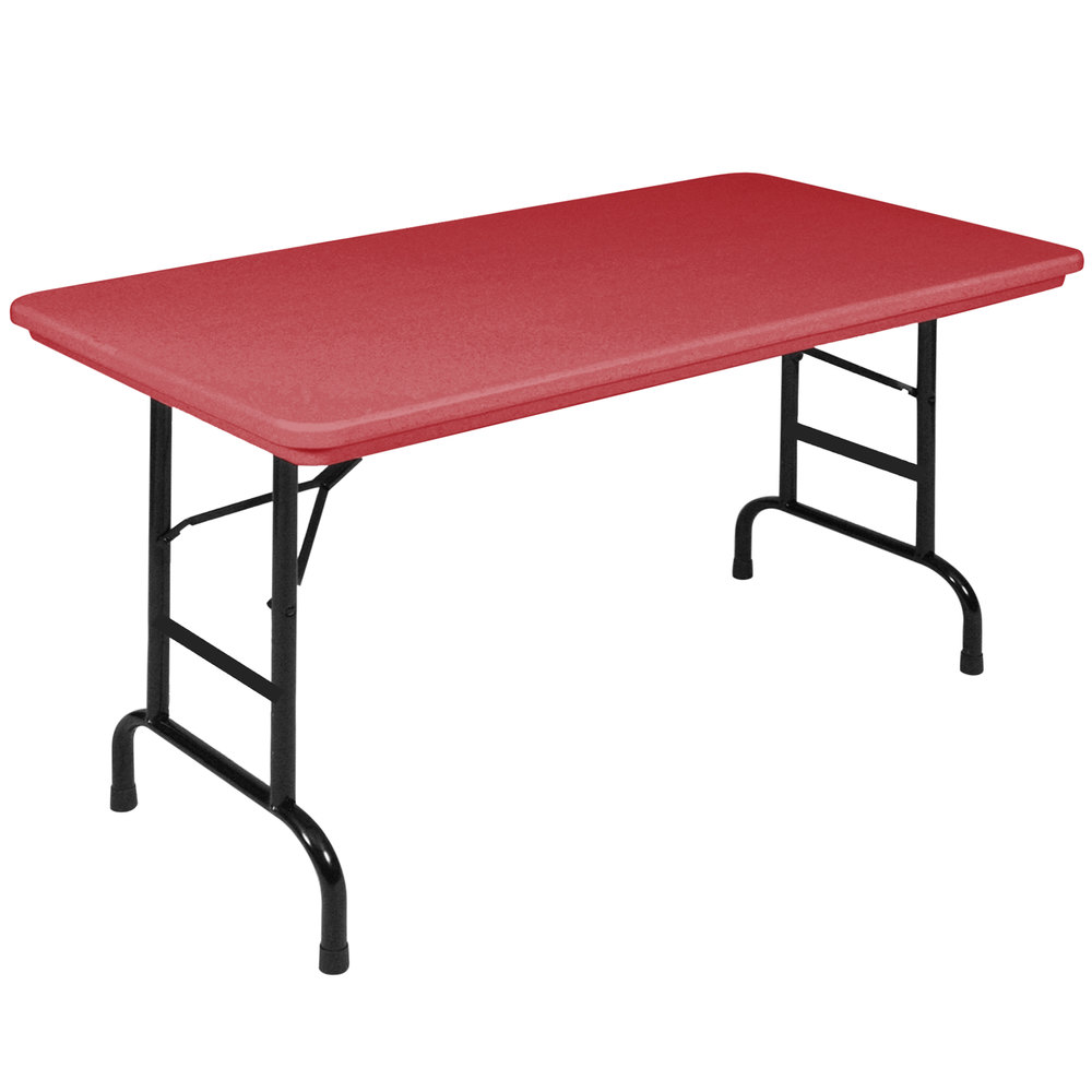 "Correll Folding Table, 24"" x 48"" Plastic Adjustable Height, Red - R-Series RA2448"