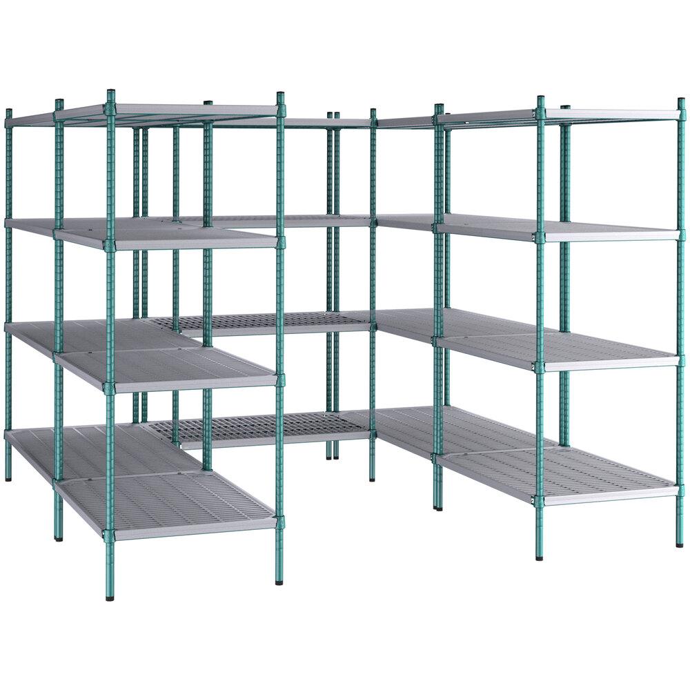 Regency NSF Green Epoxy 8' x 8' Walk-In 4-Tier Shelving Unit Kit with Drop Mat Shelf Liner