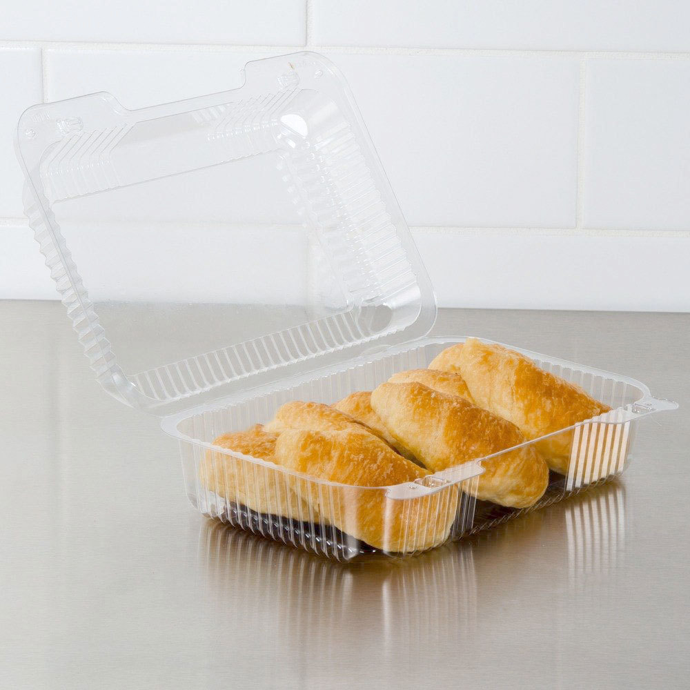 "Dart Solo C40UT1 StayLock 9 3/8"" x 6 3/4"" x 3 1/8"" Clear Hinged Plastic Medium High Dome Oblong Container - 250/Case"