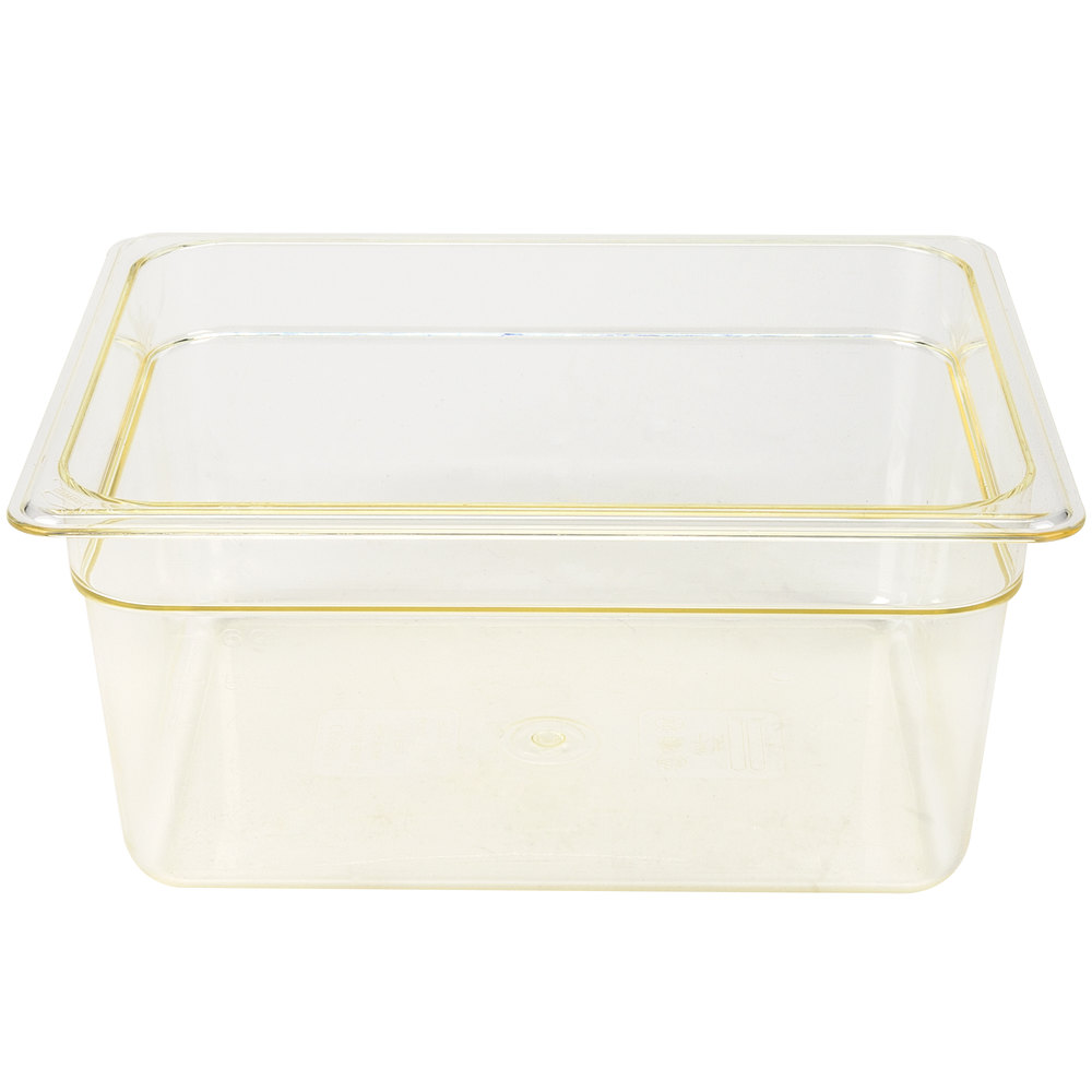 "Cambro 26HP150 H-Pan 1/2 Size Amber High Heat Food Pan - 6"" Deep"