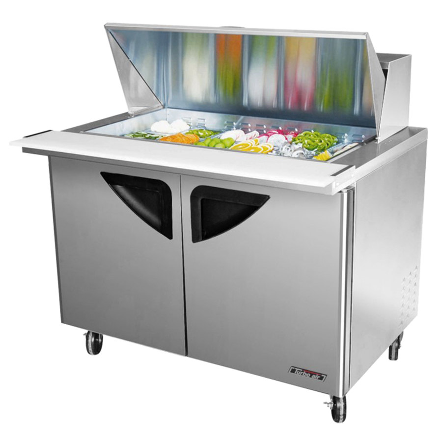 "Turbo Air TST-48SD-18 48"" Super Deluxe Stainless Steel Mega Top Refrigerated Salad / Sandwich Prep Table with Two Doors and Deluxe Shelving"