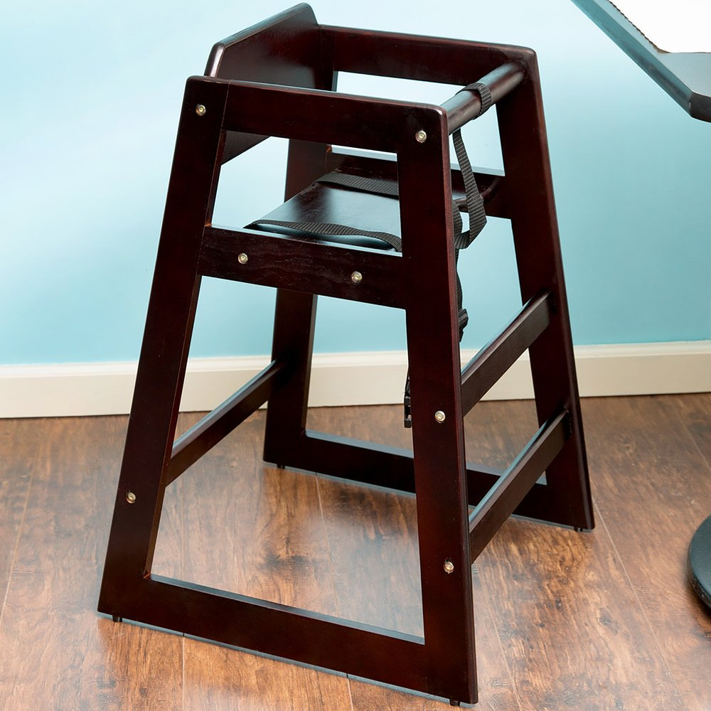 Stacking Restaurant Wood High Chair with Walnut Finish - Unassembled