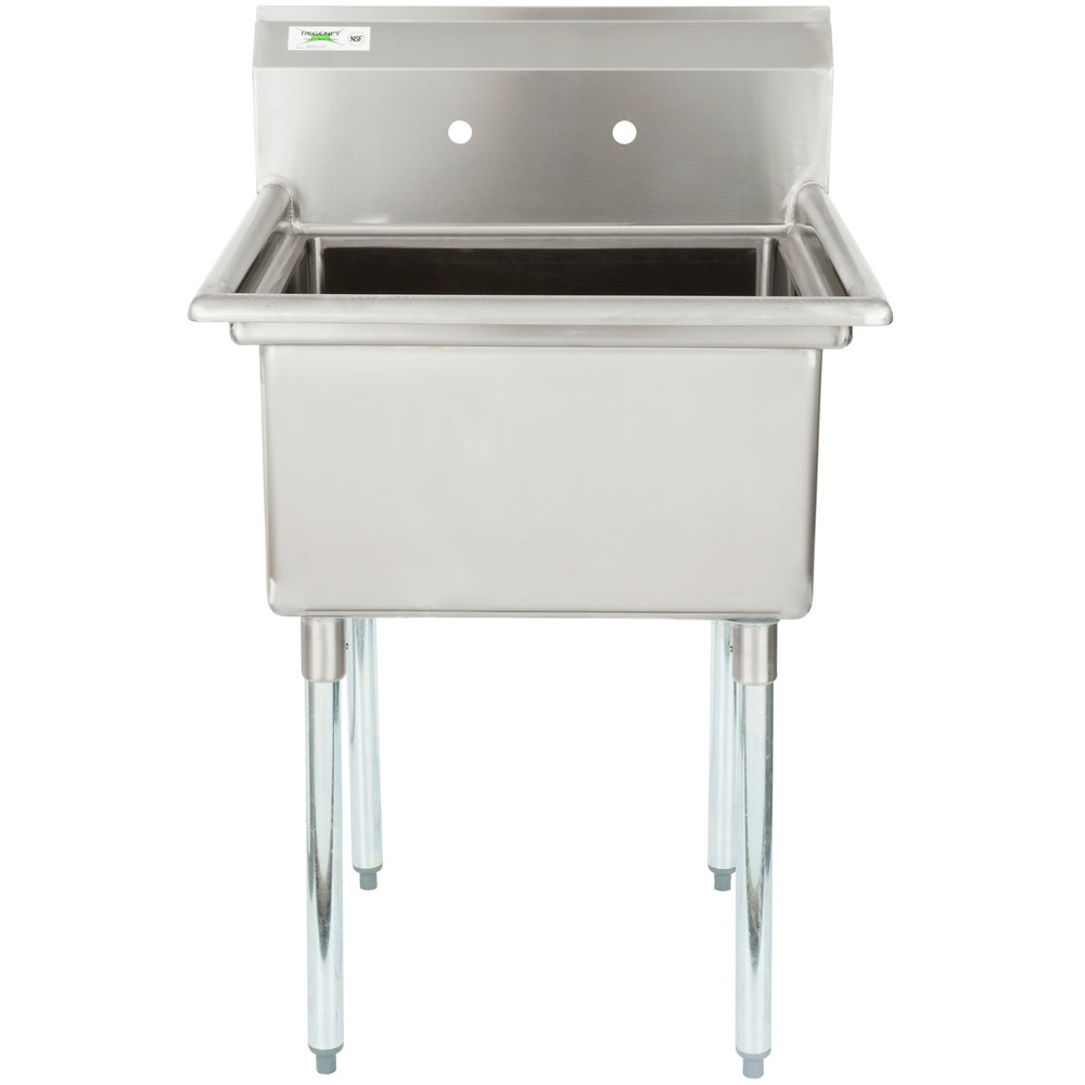 "Regency 16 Gauge One Compartment Stainless Steel Commercial Sink without Drainboard - 28"" Long, 23"" x 23"" x 12"" Compartment"