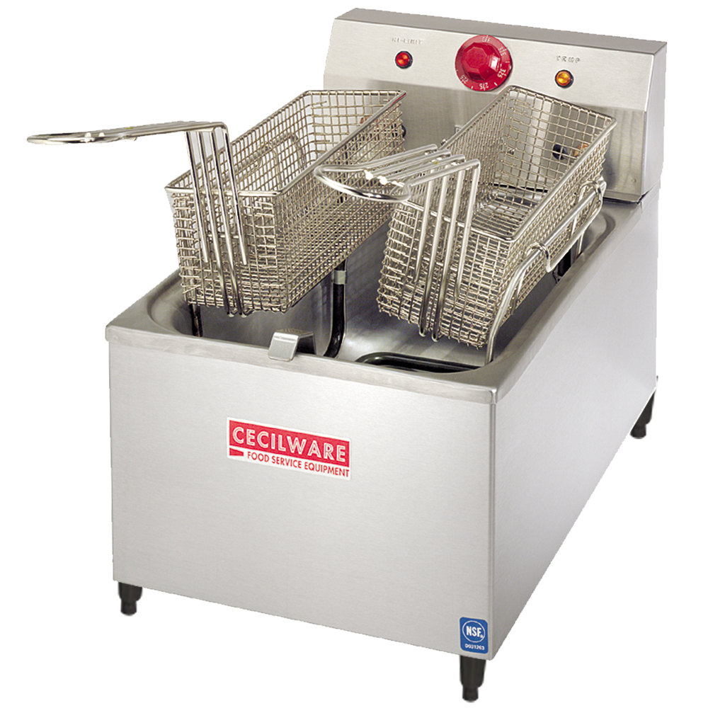 "Cecilware EL-170 Stainless Steel Commercial Countertop Electric Deep Fryer with 4"" Legs and 15 lb. Fry Tank - 1800W"