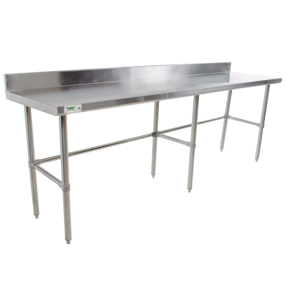 "Regency 16 Gauge 30"" x 96"" Stainless Steel Commercial Open Base Work Table with Backsplash"