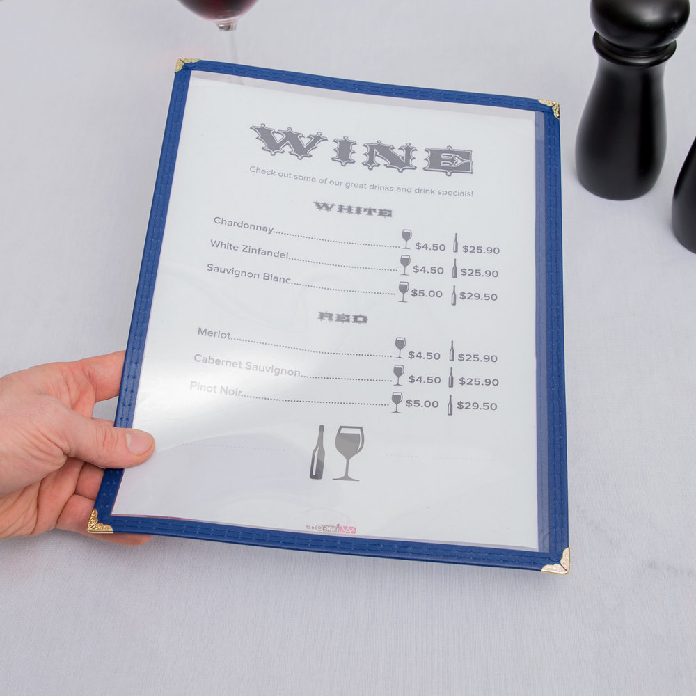 "8 1/2"" x 11"" Blue Single Pocket Menu Cover"