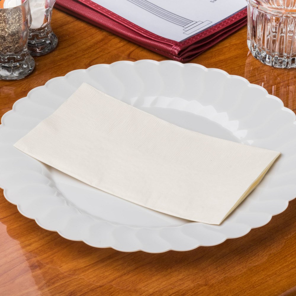 "Choice 15"" x 17"" Ecru / Ivory 2-Ply Paper Dinner Napkin - 125/Pack"