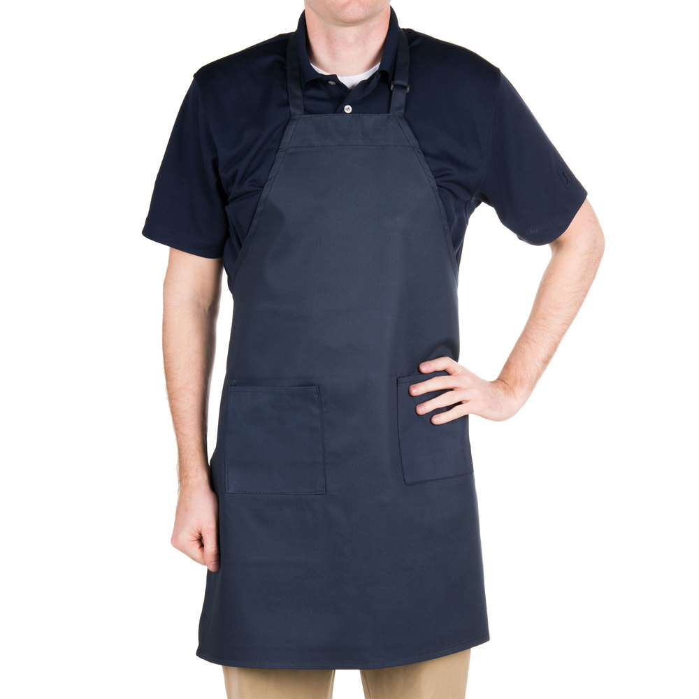 "Navy Blue 2-Pocket Bib Apron with Adjustable ""D"" Ring Neck Strap - 28"" x 32"""