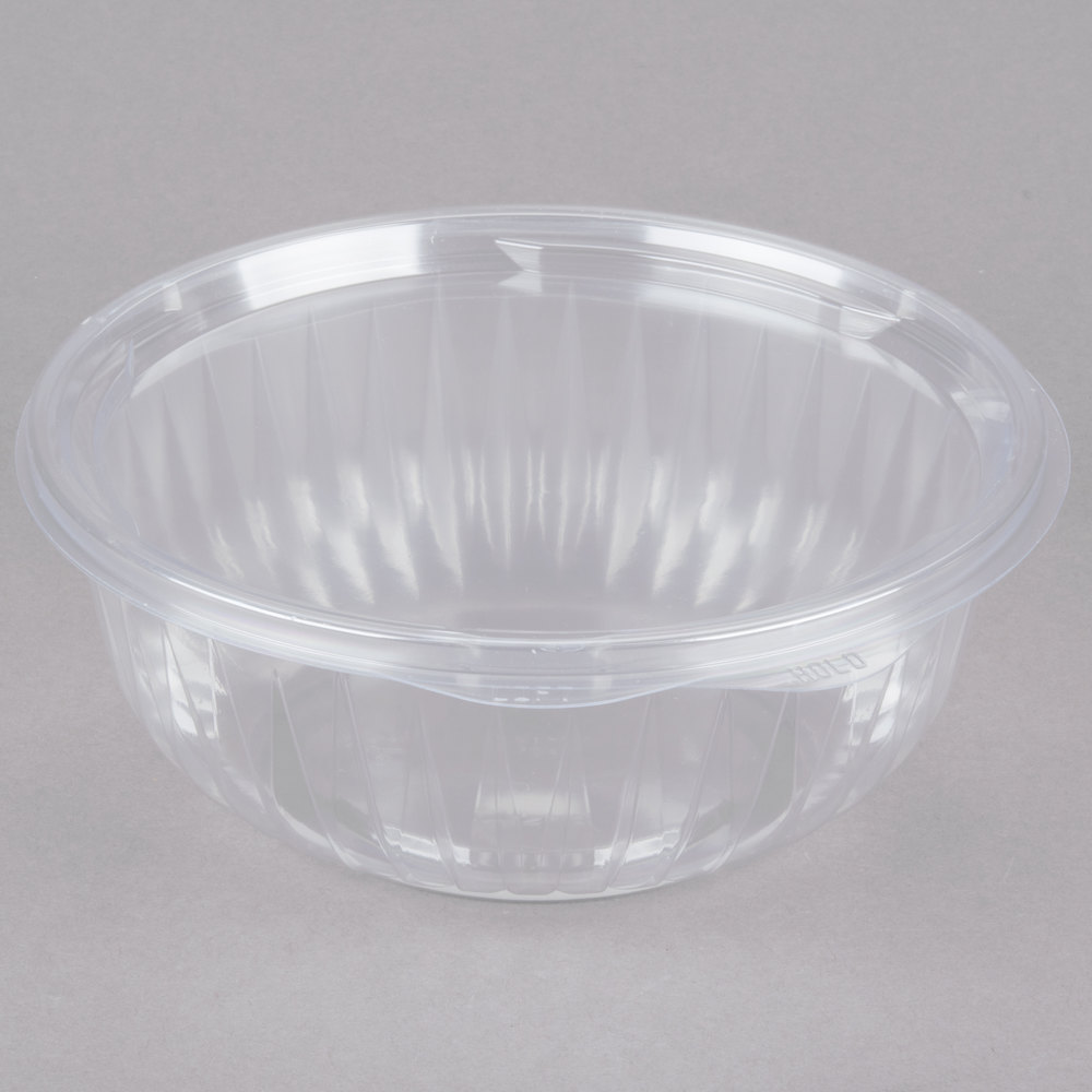 dart c32hbf presentabowls 32 oz clear hinged plastic bowl with flat lid 150 case. Black Bedroom Furniture Sets. Home Design Ideas