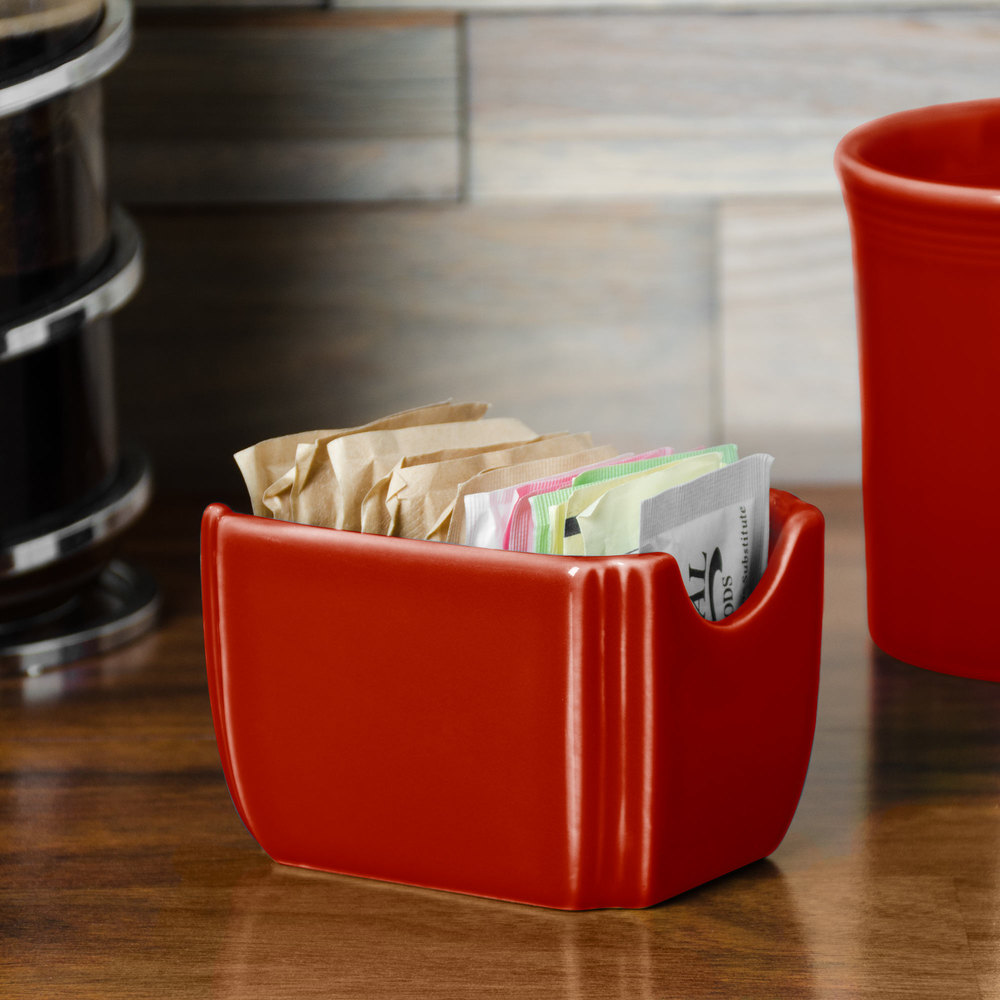 "Homer Laughlin 479326 Fiesta Scarlet 3 1/2"" x 2 3/8"" Sugar Caddy - 12 / Case"