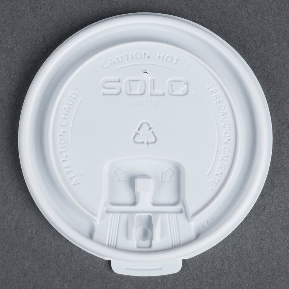 Dart Solo LB3161 12, 16 , and 20 oz. White Plastic Tab Lid - 1000 / Case