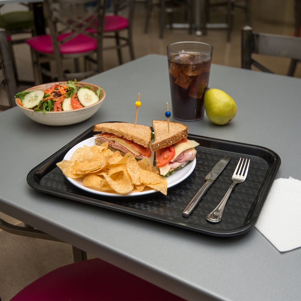 "Carlisle CT121603 Cafe 12"" x 16"" Black Standard Plastic Fast Food Tray"