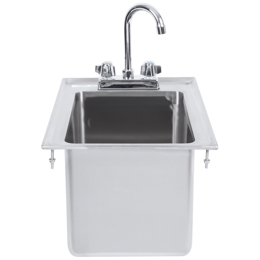 "Regency 10"" x 14"" x 10"" 16-Gauge Stainless Steel One Compartment Drop-In Sink with 8"" Gooseneck Faucet"