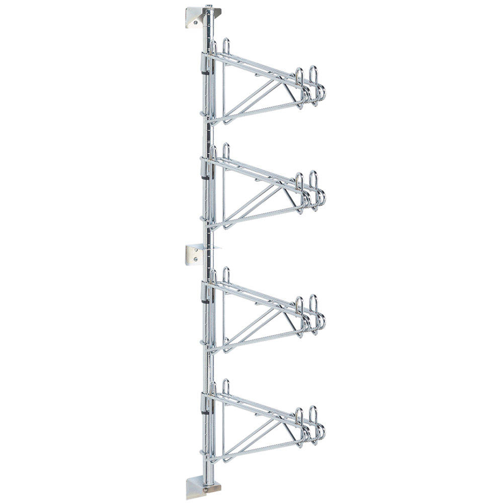 "Metro AW56C Super Erecta Chrome Four Level Post-Type Wall Mount Mid Unit for 24"" Deep Shelf"