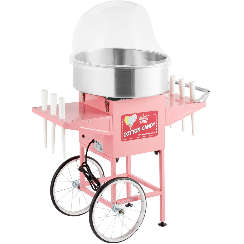Carnival King CCM21CT Cotton Candy Machine with 21 inch Stainless Steel Bowl, Floss Bubble, and Cart - 110V, 1050W