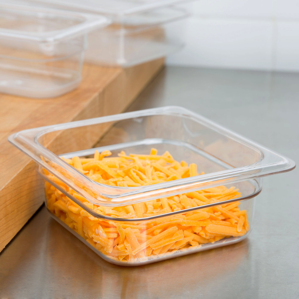 "1/6 Size Clear Polycarbonate Food Pan - 2 1/2"" Deep"