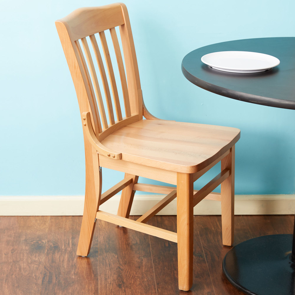 Wooden School Chair ~ Lancaster table seating natural finish wooden school