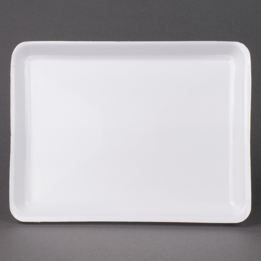 "Genpak 1009L (#9L) White 12 1/8"" x 9 1/4"" x 3/4"" Foam Supermarket Tray - 125 / Pack"