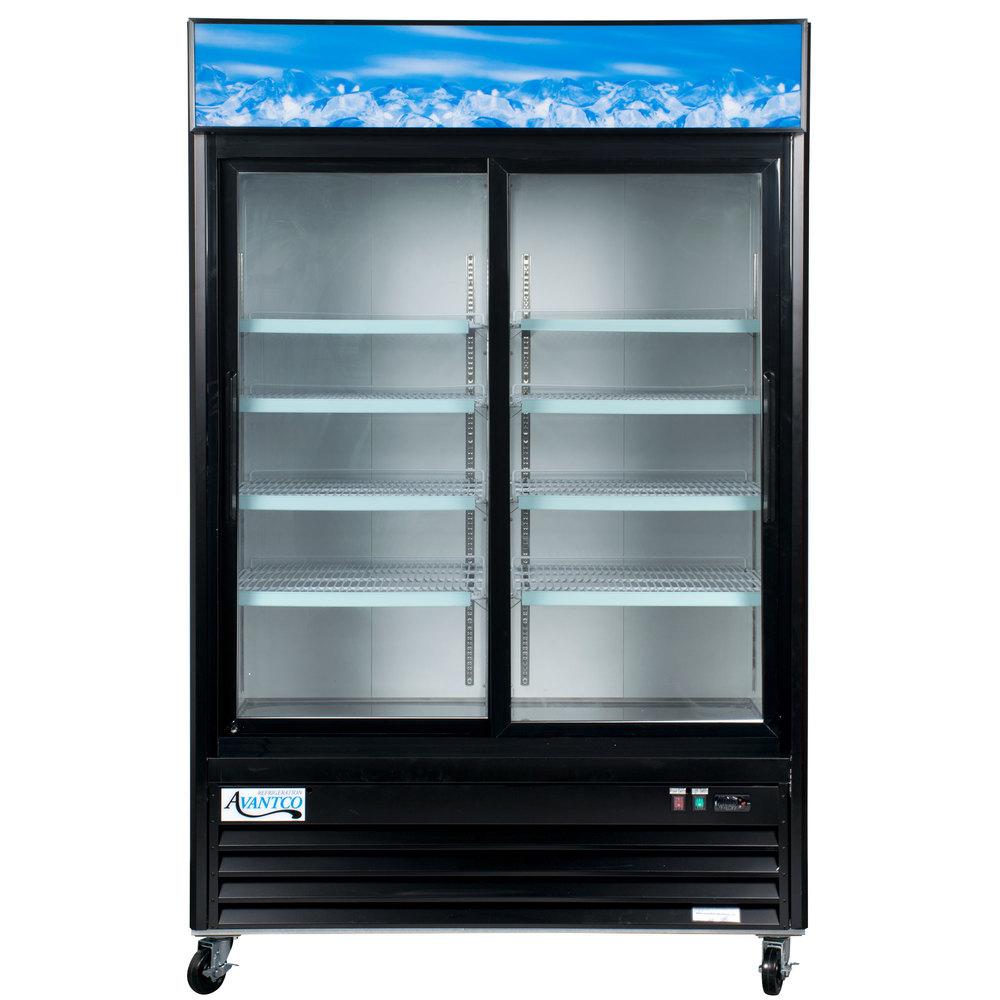 Avantco Gds47 53 Black Sliding Glass Door Merchandiser Refrigerator
