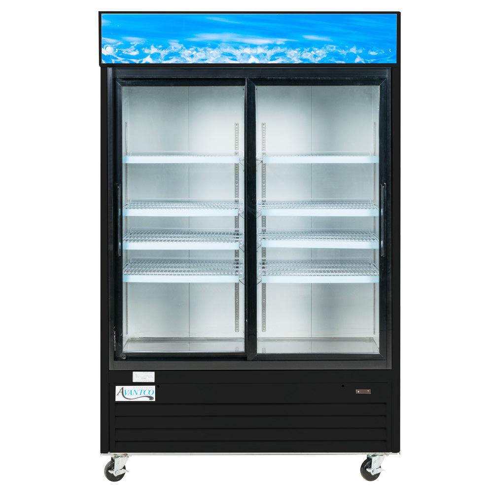 Avantco Gds47 53 Quot Black Sliding Glass Door Merchandiser