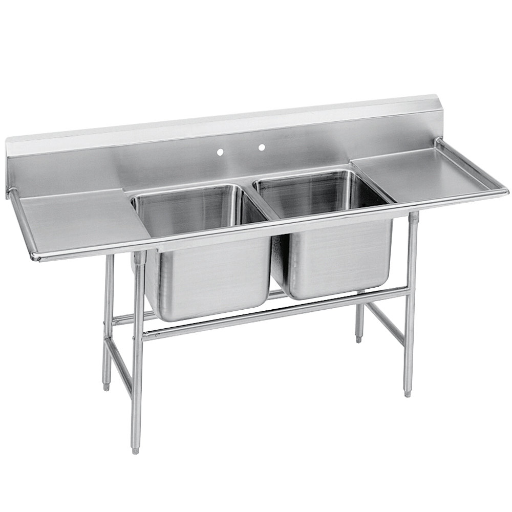 Advance Tabco 94-2-36-24RL Spec Line Two Compartment Pot Sink with Two Drainboards - 85""