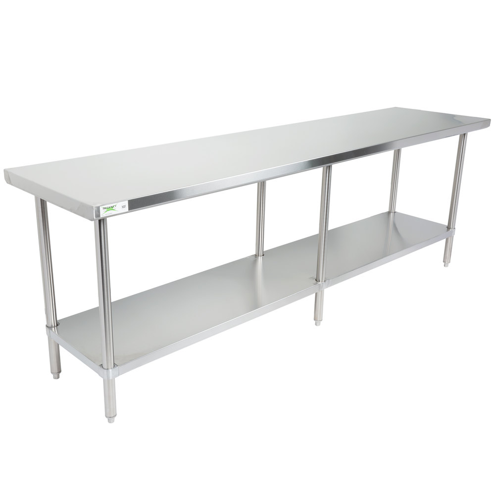 "Regency 24"" x 96"" 16-Gauge 304 Stainless Steel Commercial Work Table with Undershelf"