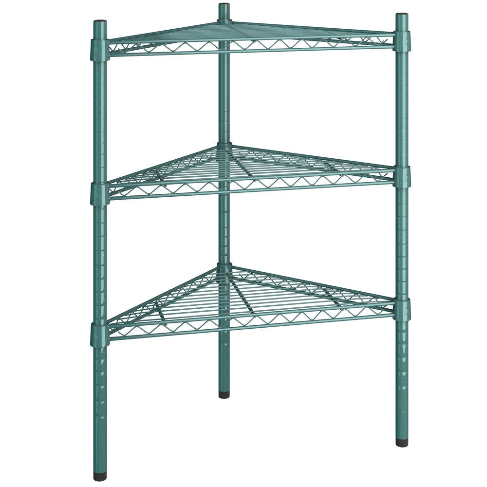Regency 18 inch NSF Green Epoxy Triangle 3-Shelf Kit with 34 inch Posts