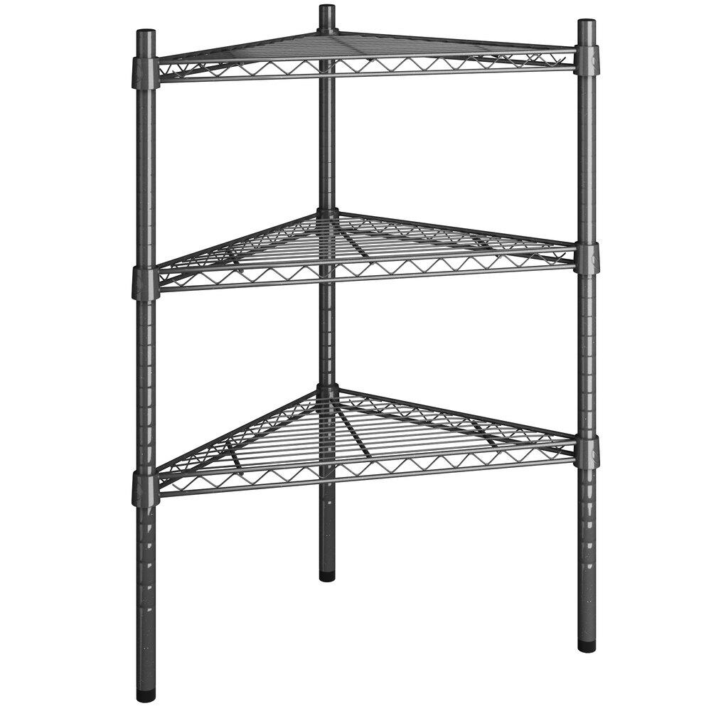 Regency 18 inch NSF Black Epoxy Triangle 3-Shelf Kit with 34 inch Posts
