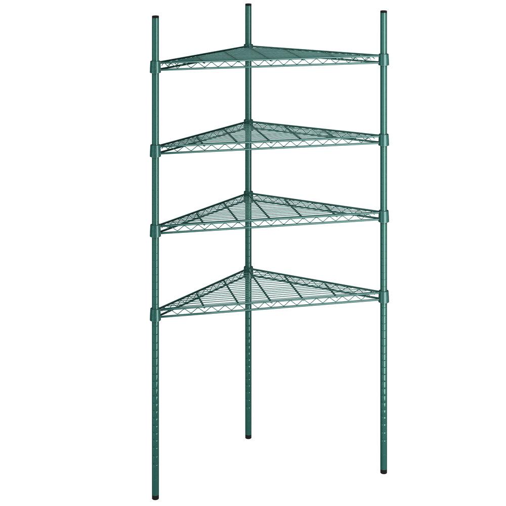 Regency 24 inch NSF Green Epoxy Triangle 4-Shelf Kit with 64 inch Posts