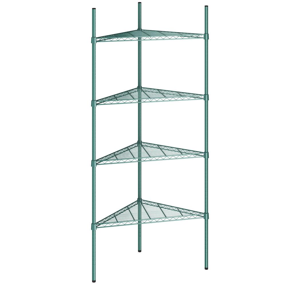 Regency 24 inch NSF Green Epoxy Triangle 4-Shelf Kit with 74 inch Posts