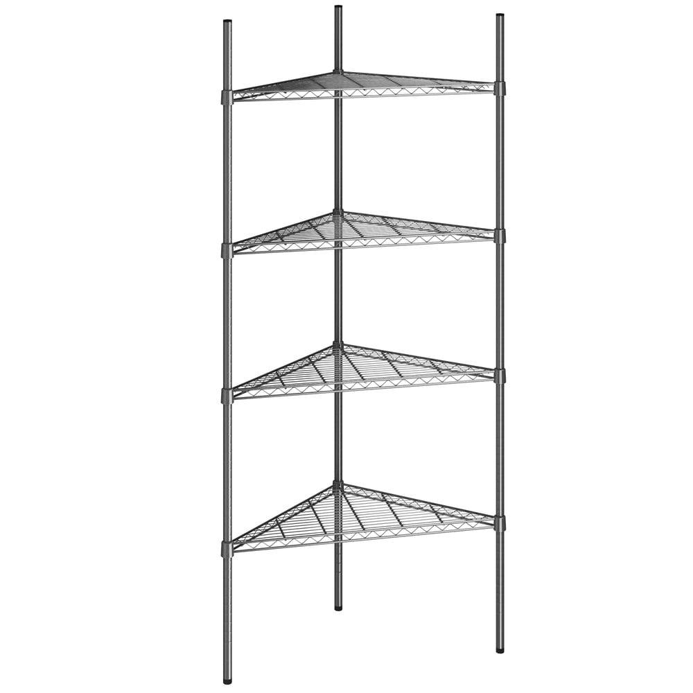 Regency 24 inch NSF Black Epoxy Triangle 4-Shelf Kit with 74 inch Posts