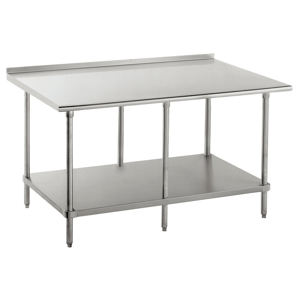 "Advance Tabco FAG-3012 30"" x 144"" 16 Gauge Stainless Steel Work Table with Undershelf and 1 1/2"" Backsplash"