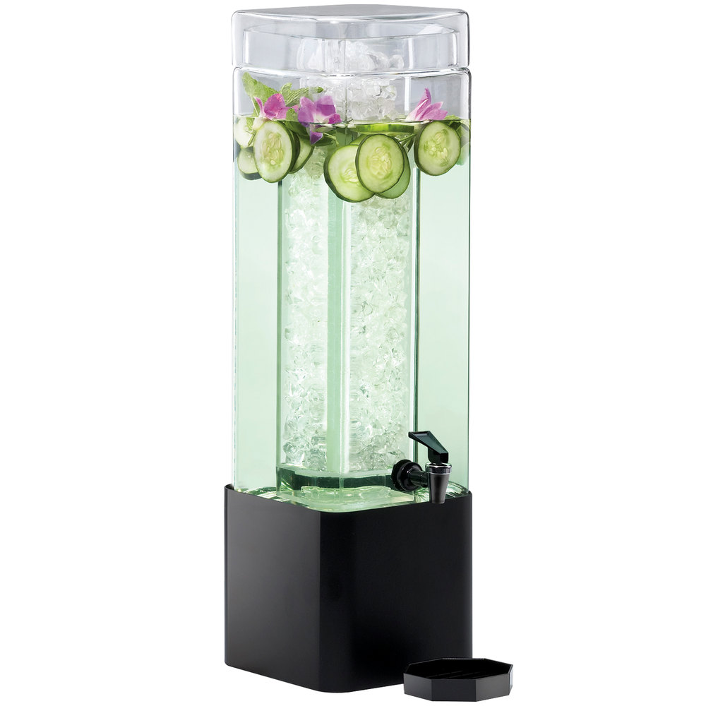 Cal-Mil 1112-3A-13 3 Gallon Mission Square Acrylic Beverage Dispenser with Black Metal Base