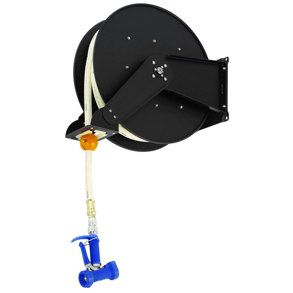 "T&S B-7245-06 50' Open Epoxy Coated Steel Hose Reel with MV-2522-34 7/16"" Front Trigger Water Gun"