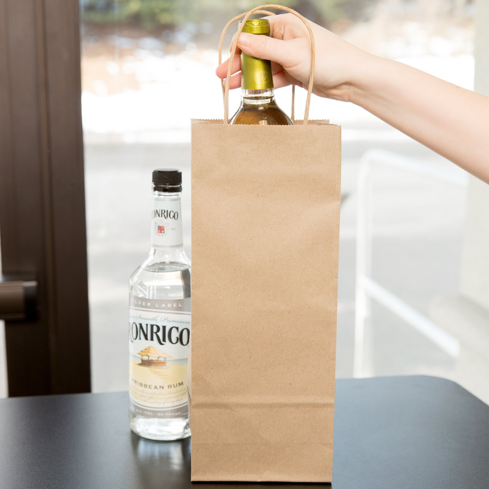 "Duro Vino 5 1/4"" x 3 1/4"" x 13 1/8"" Natural Kraft Paper Wine Shopping Bag with Handles - 250/Bundle"