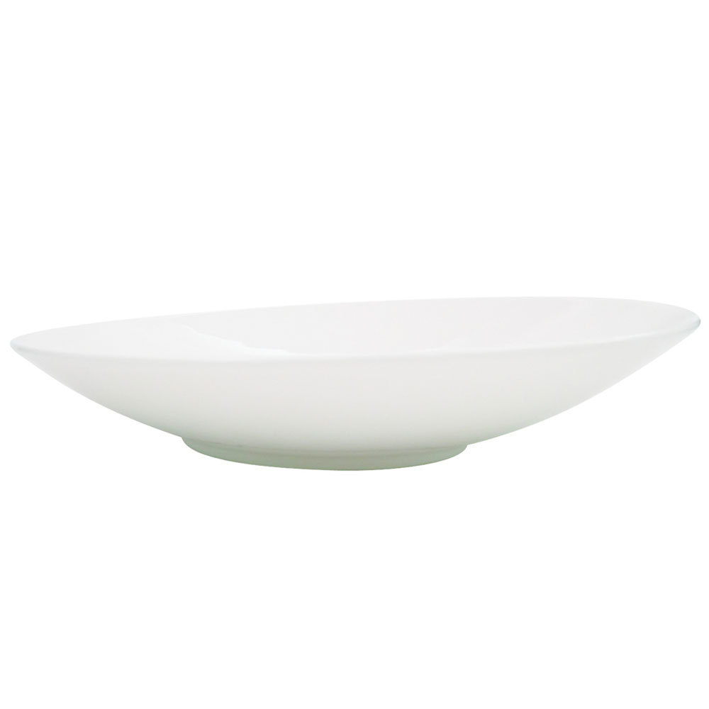 "CAC SHER-16 Sheer 10 1/2"" Bone White Round Porcelain Plate - 12/Case"
