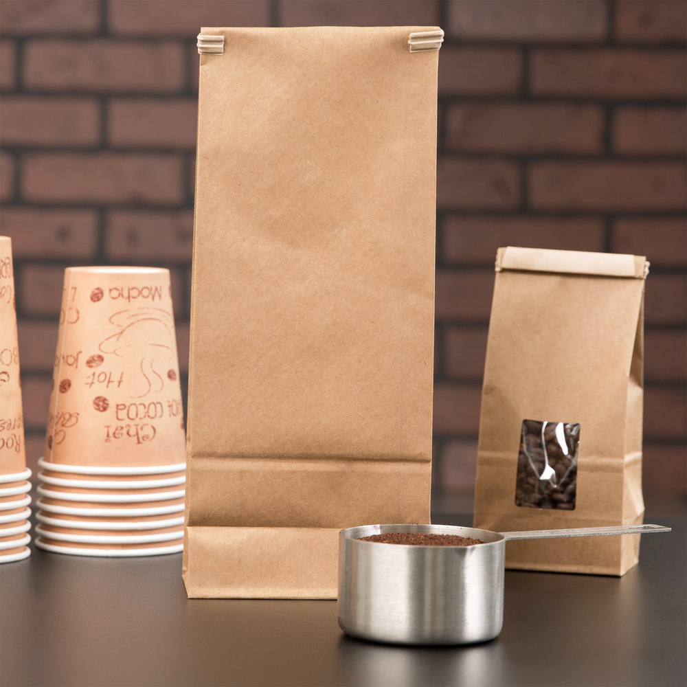 2 lb. Brown Customizable Paper Coffee Bag with Reclosable Tin Tie - 500/Case