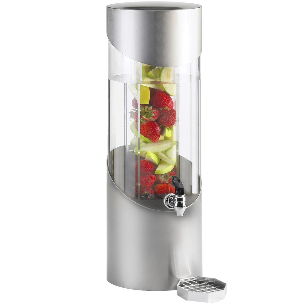 "Cal-Mil 1990-3INF-55 3 Gallon Round Stainless Steel Beverage Dispenser with Infusion Chamber - 8 1/4"" x 10 1/2"" x 23 1/2"""