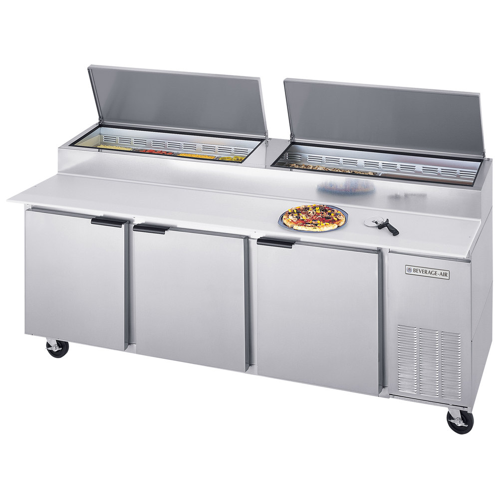 "Beverage Air DPD93-2 93"" Pizza Prep Table with Two Doors and Two Drawers"