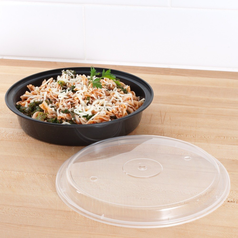 "Newspring NC-948-BV 48 oz. Black 9"" x 1 3/4"" VERSAtainer Round Microwavable Container with Vented Lid - 150/Case"