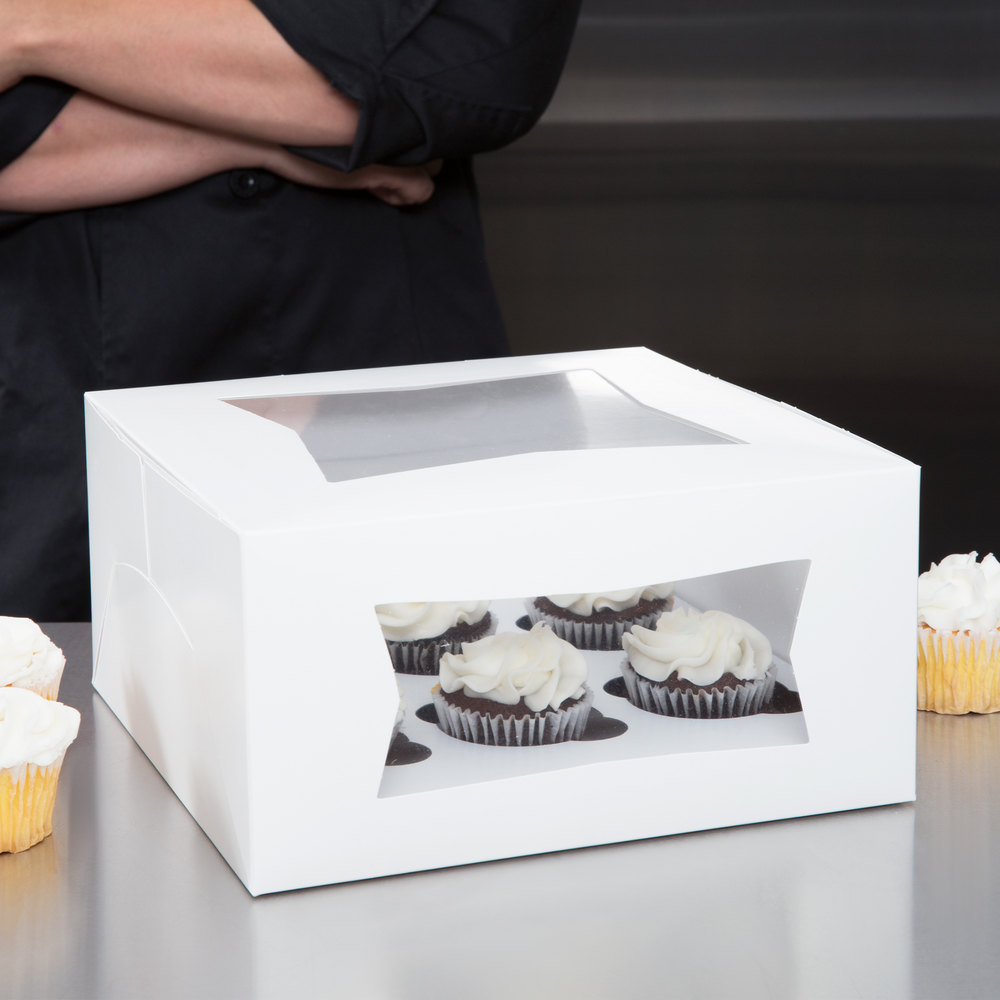 "Southern Champion Window Cupcake Box with Insert 10"" x 10"" x 5"" - 10/Pack"