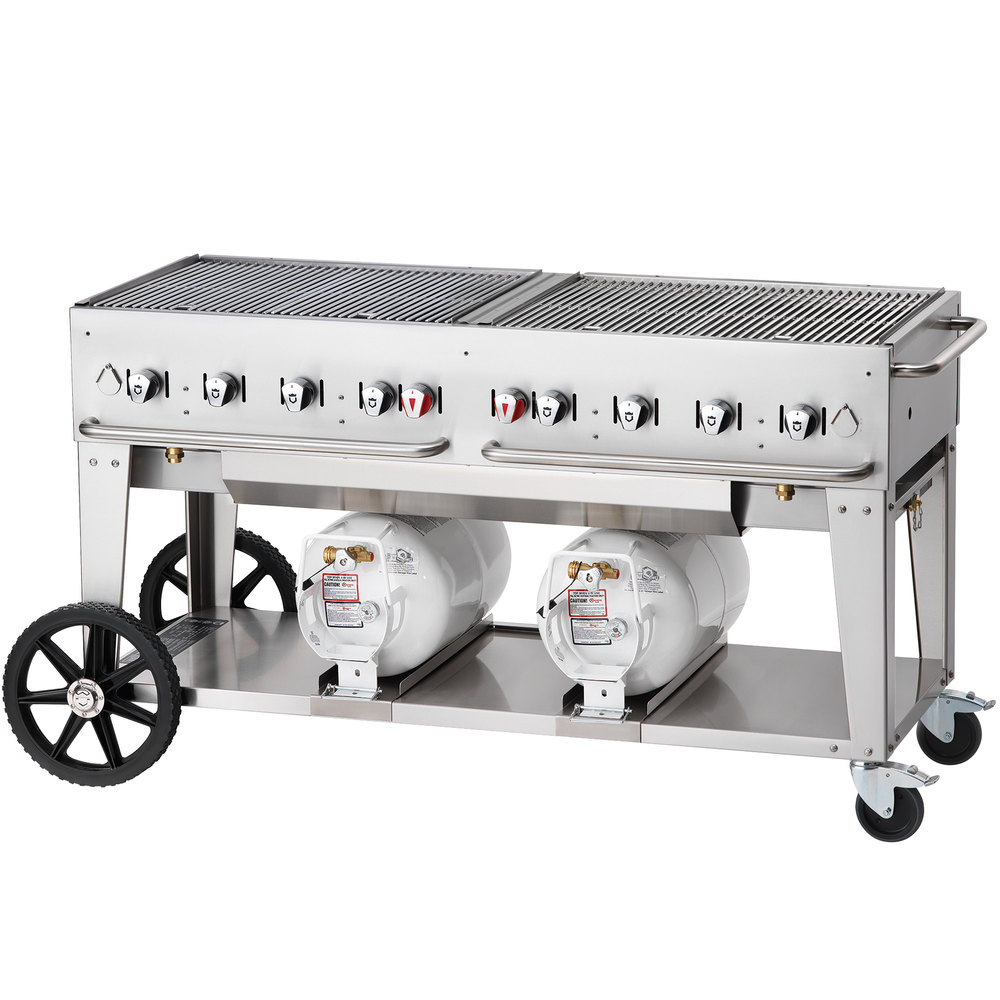 "Crown Verity CCB-60-LP 60"" Outdoor Club Grill with 2 Horizontal Propane Tanks"