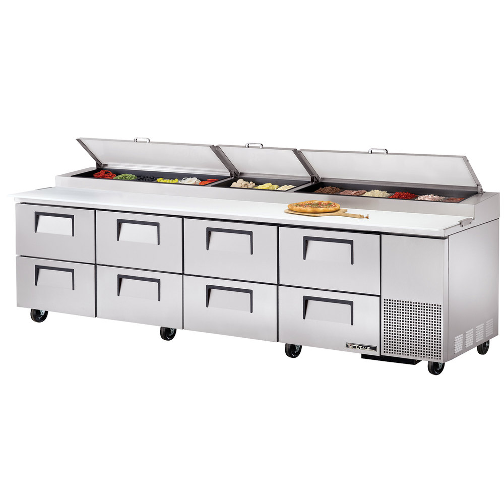 "True TPP-119D-8 119"" Eight Drawer Refrigerated Pizza Prep Table"